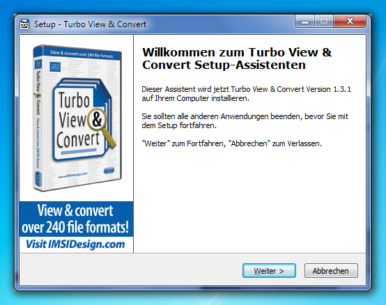 Turbo View & Convert Installationsfenster